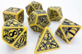 Yellow & Black Steampunk Dice Set